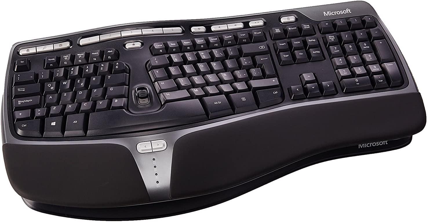 teclado Microsoft para evitar sindrome del tunel del carpo